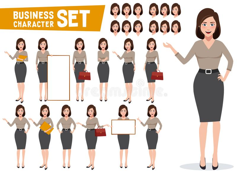 Business woman vector character set with professional young female royalty free illustration