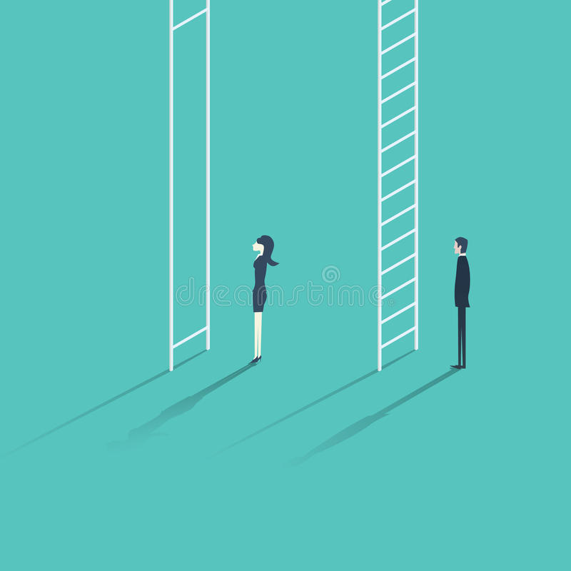 Business woman versus man corporate ladder career concept vector illustration. stock illustration