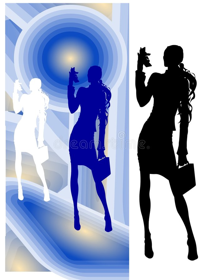 Business Woman with Video-Phone royalty free illustration