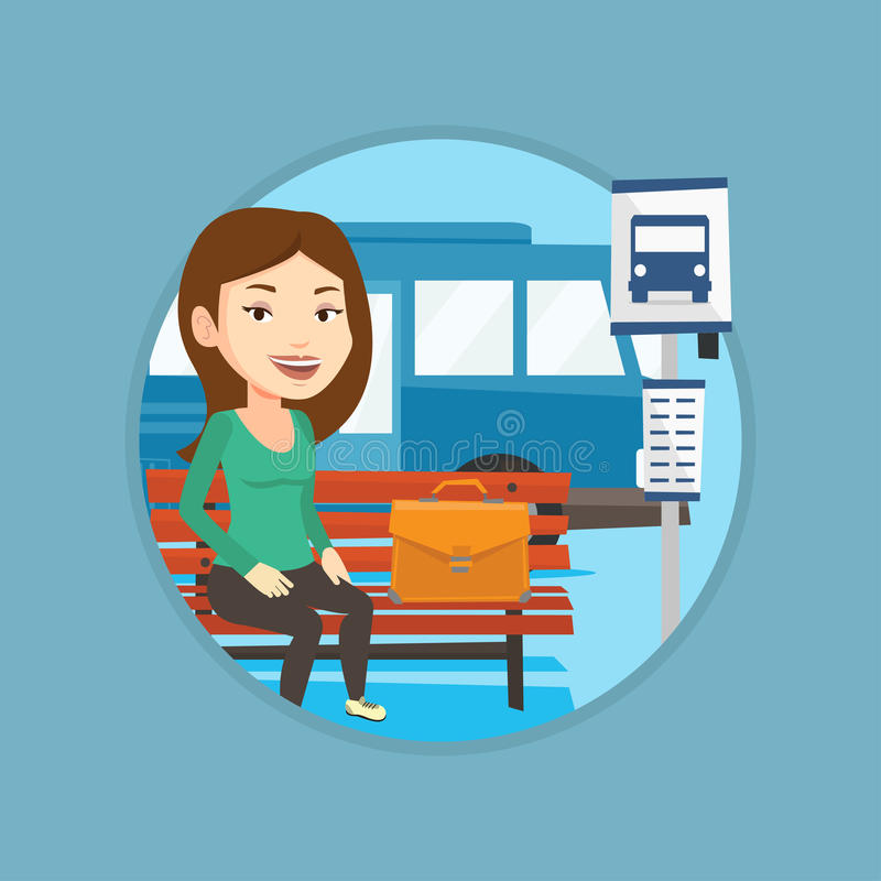 Business woman waiting at the bus stop. Business woman with briefcase waiting at the bus stop. Woman sitting at the bus stop. Businesswoman sitting on a bus vector illustration