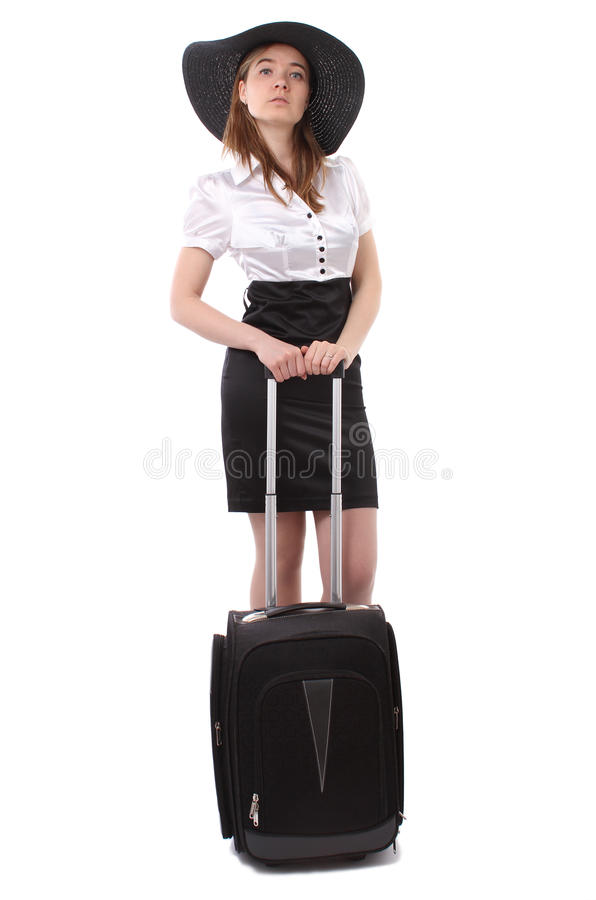 Business Woman Waiting With Luggage Royalty Free Stock Images