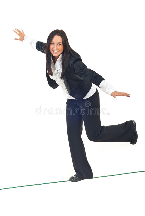 Download Business Woman Walk On Tightrope Stock Photo - Image: 17331820