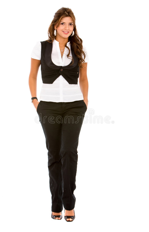 Download Business Woman Walking Isolated Stock Photo - Image of person, modeling: 7398014