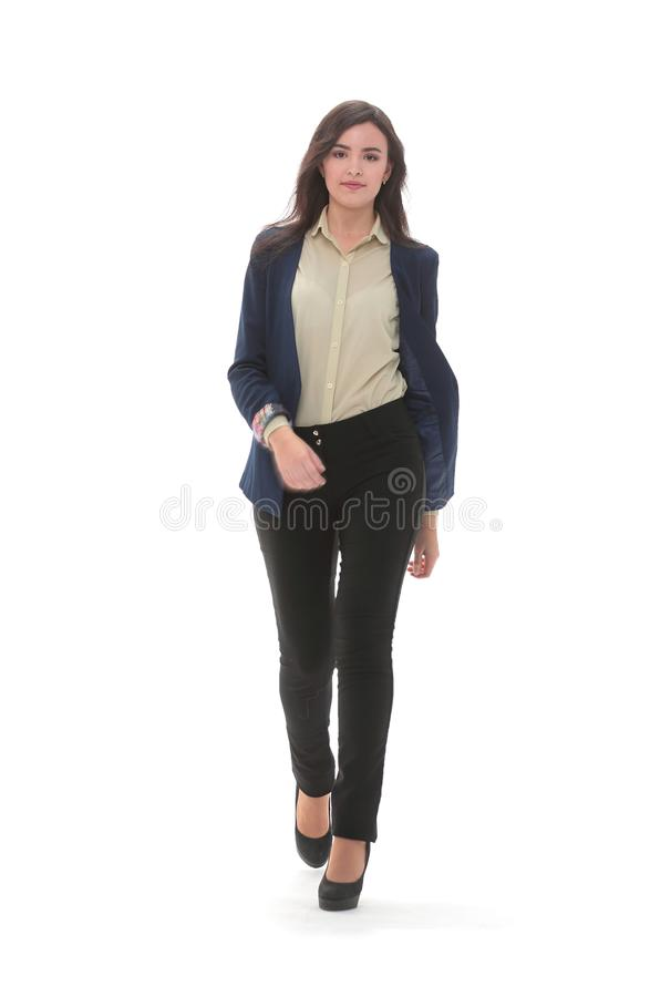 A business woman is walking. stock image