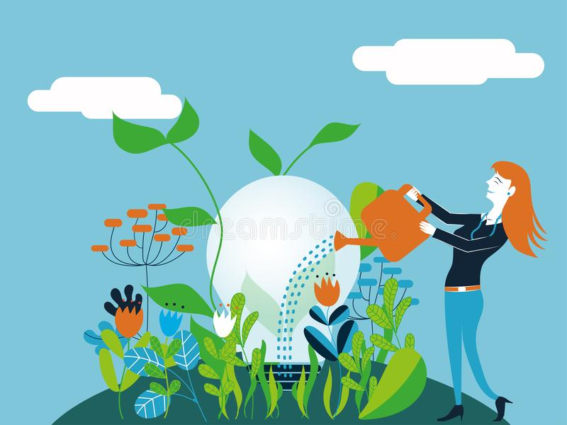 Business woman watering a light bulb - Vector illustration for concept of make growing a good and ecological idea. Business woman watering a light bulb - Vector royalty free illustration
