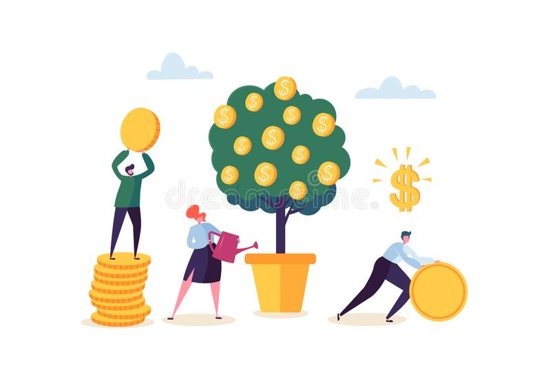 Business Woman Watering a Money Plant. Characters Collecting Golden Coins from Money Tree. Financial Pofit, Investment stock illustration
