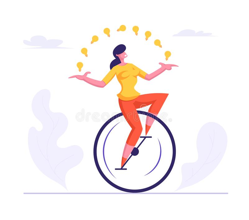 Business Woman Wearing Casual Suit Riding Monowheel Juggling with Glowing Light Bulbs. Businesswoman. Character Racing in Leadership Competition. Finance vector illustration
