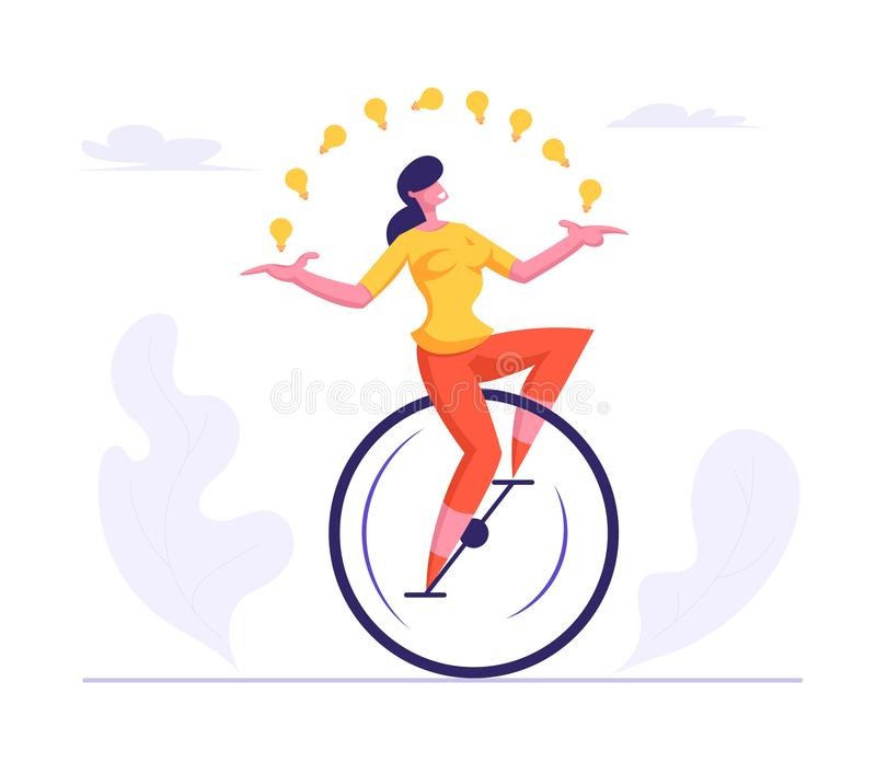 Business Woman Wearing Casual Suit Riding Monowheel Juggling with Glowing Light Bulbs. Businesswoman Character Racing. In Leadership Competition. Finance royalty free illustration