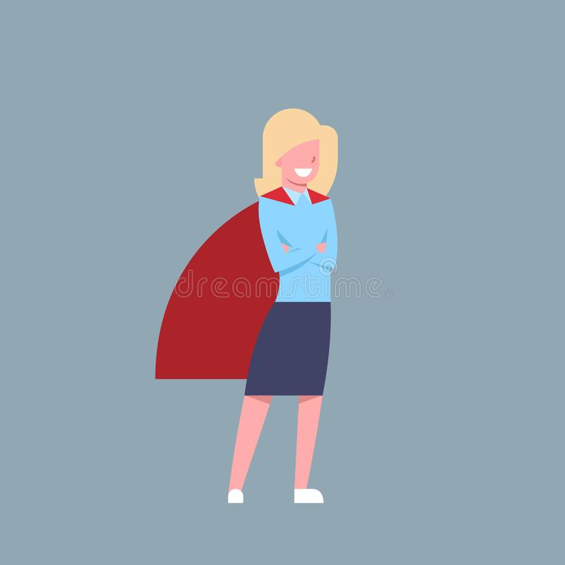 Business Woman Wearing Red Hero Cape Businesswoman Isolated. Flat Vector Illustration vector illustration