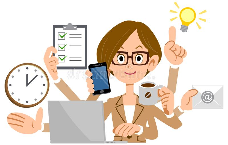 Woman Multitasking Stock Illustrations – 1,351 Woman Multitasking ...