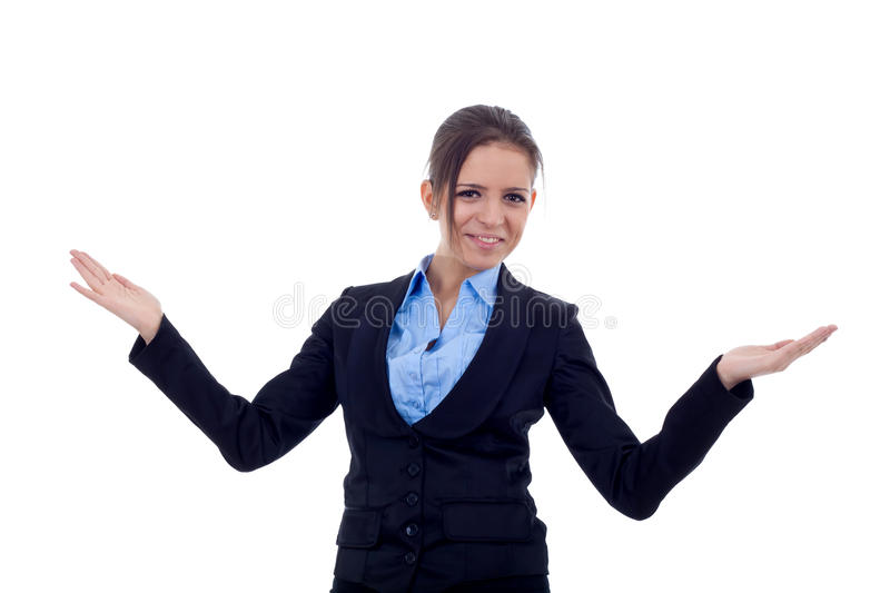 Business woman welcoming stock photography