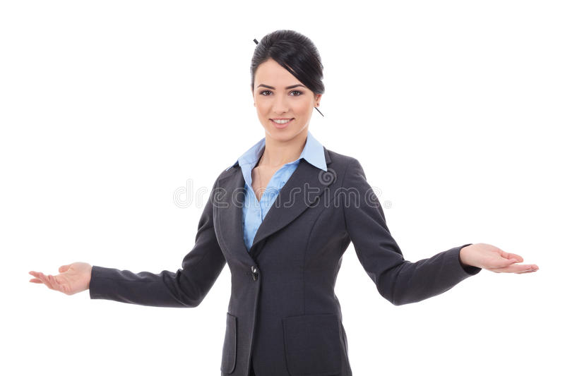 Business woman welcoming royalty free stock images