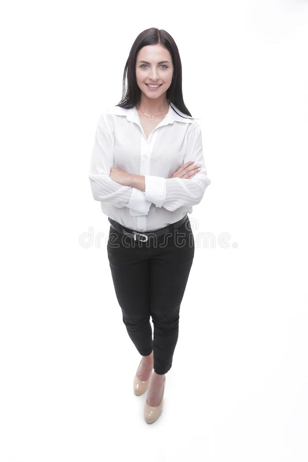 Modern young business woman in white blouse and black pants royalty free stock photos