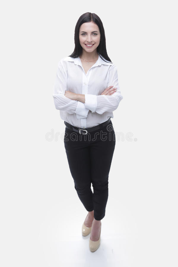 Modern young business woman in white blouse and black pants royalty free stock photography