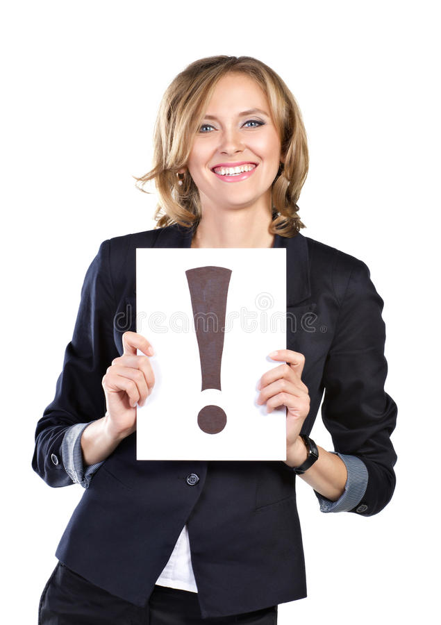 Business woman with white card stock photography