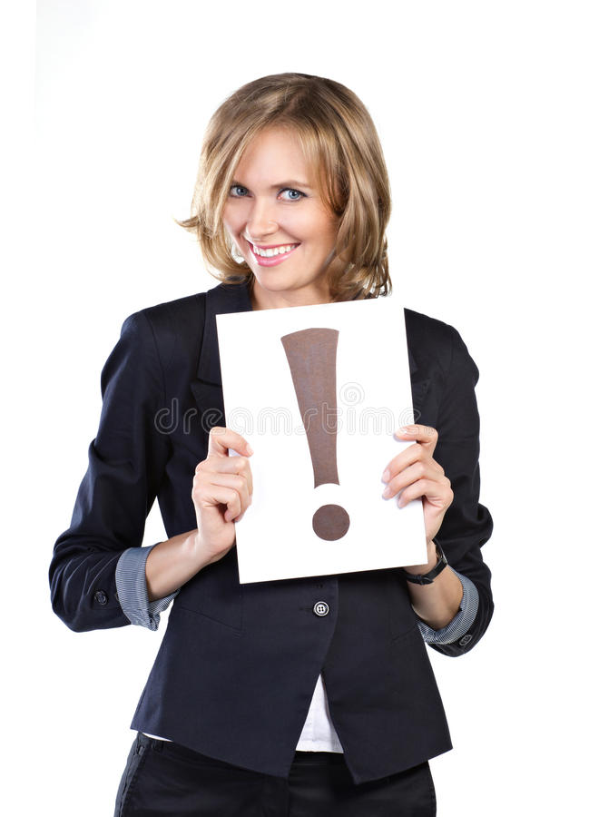 Business woman with white card royalty free stock photo