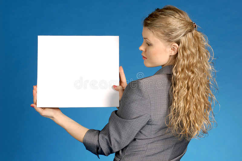 Business woman with white leaf royalty free stock photos