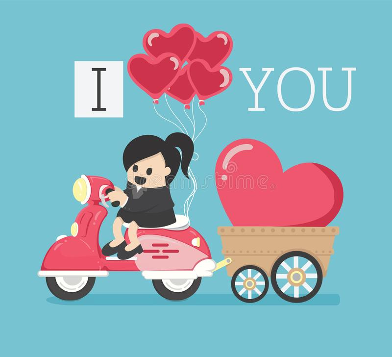 Business woman who is riding a motorcycle back with the I Love You symbol showing his love for him. Eps.10 royalty free illustration