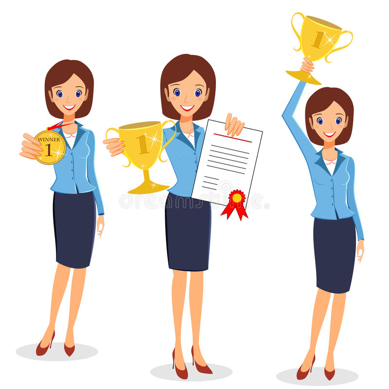 Business woman winner set. Cheerful lady holding prize and certificate vector illustration