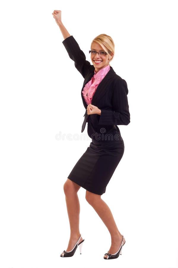 Business woman winning stock photo
