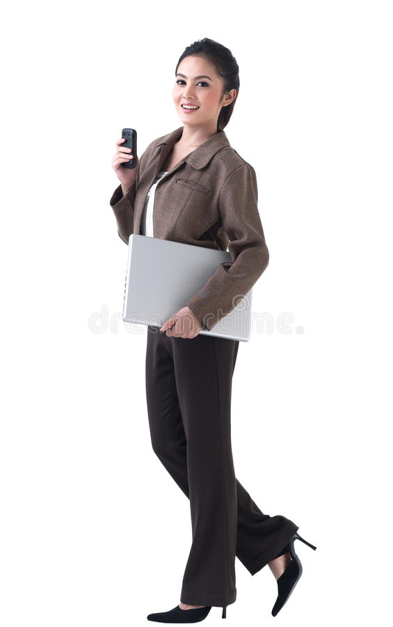Free Business Woman With Laptop And Phone Royalty Free Stock Image - 25590156