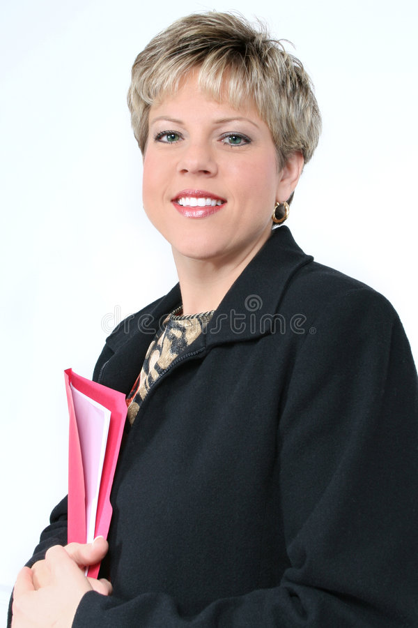 Free Business Woman With Red File Folder Stock Images - 76794