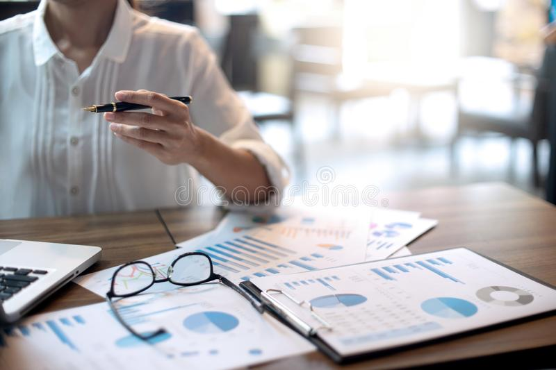 business woman  work in the coffee shop royalty free stock image