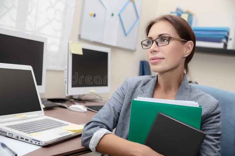 Business woman at work stock photography