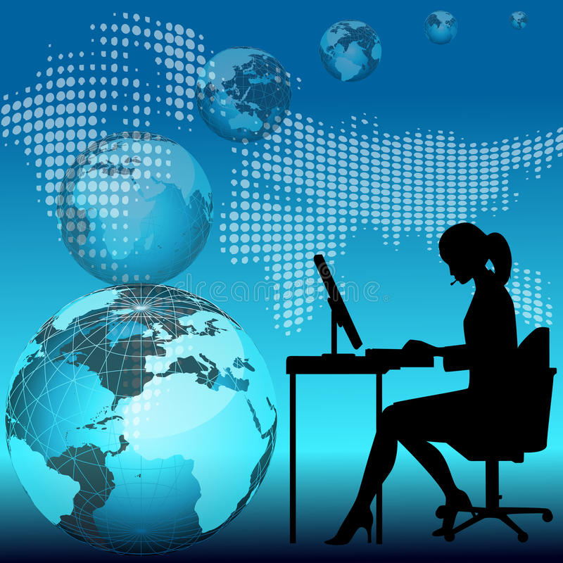 Business woman working on computer royalty free illustration