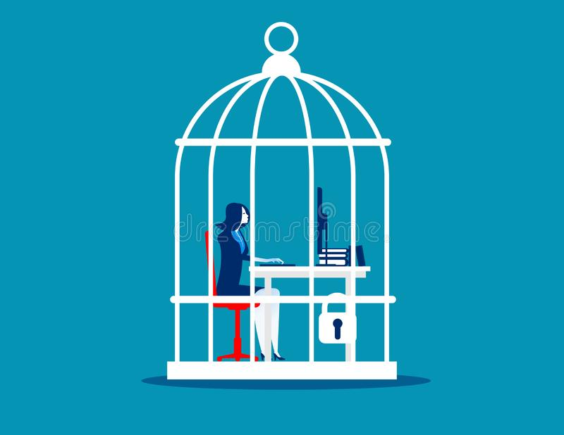Business woman working at desk trapped inside birdcage. Concept business vector illustration vector illustration