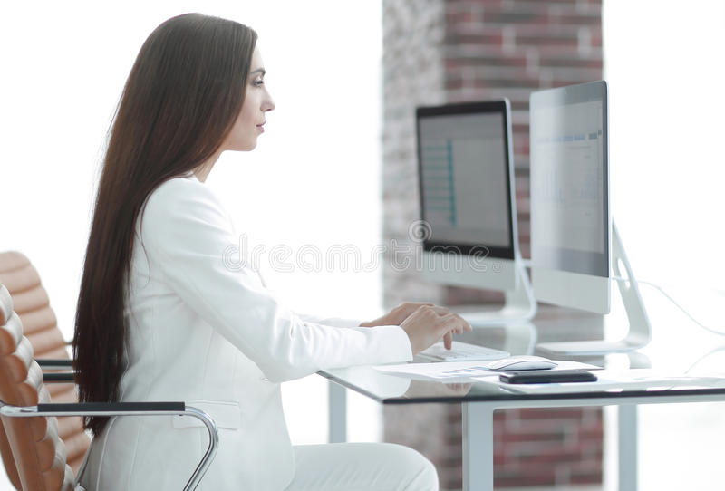 Business woman working with financial documents stock photo