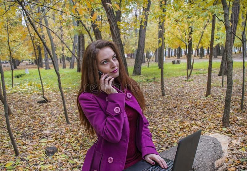 Business woman working with laptop and phone in autumn park. The woman has red hair and big green eyes. stock image