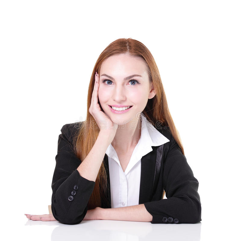 Business woman working at office. Business woman happy working at office royalty free stock photo