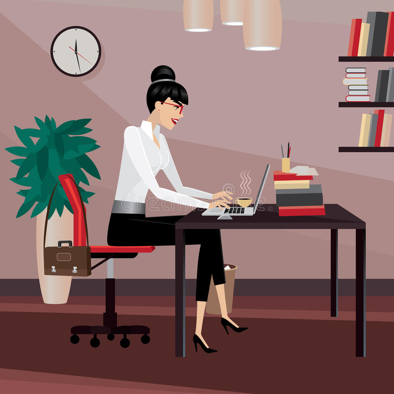 Business woman working in office. Typing on laptop vector illustration