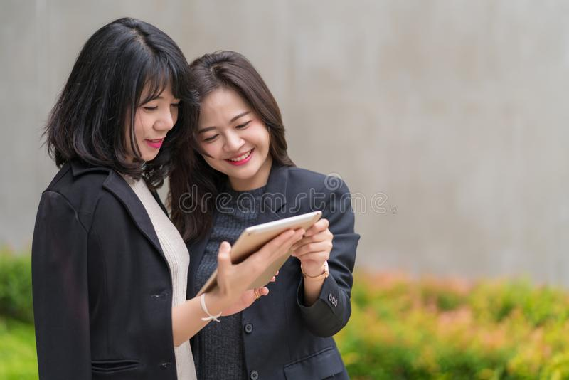 Business woman working together with tablet at office building royalty free stock photos