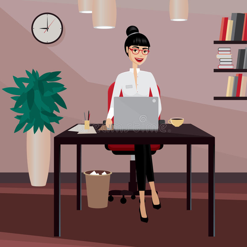 Business woman working at workplace. Happy business woman working at workplace in the office vector illustration