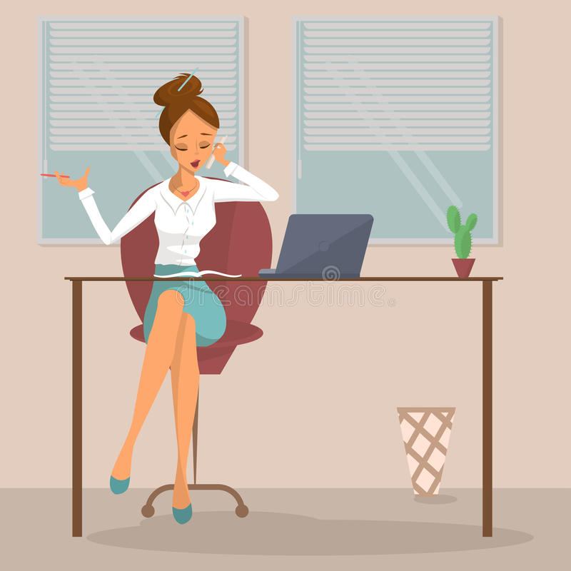 Business woman at workplace vector illustration