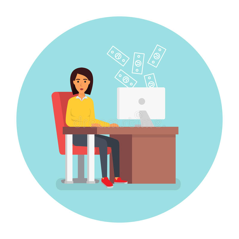 Business woman at workplace in office with computer. Flat design illustration. Business woman at workplace in office at computer. Payment shopping. Online credit stock illustration