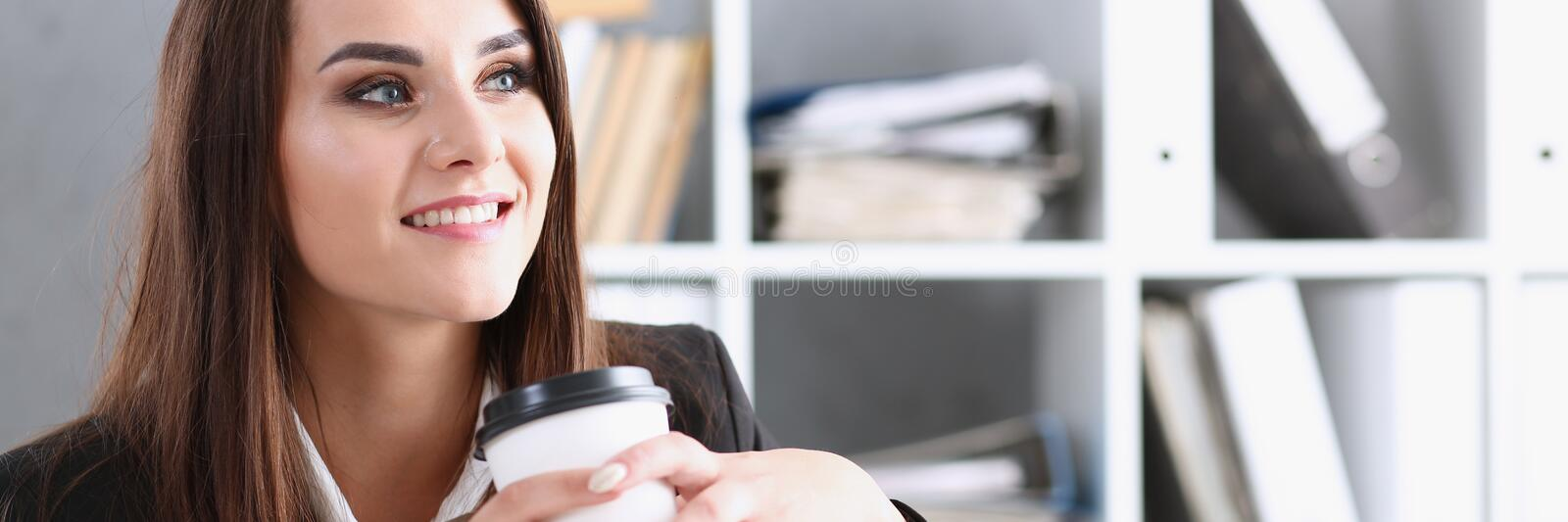 Business woman at workplace in office portrait stock photo