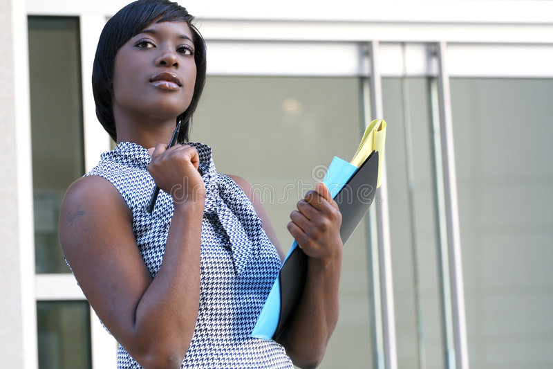 Business Woman Worried about Economic Problem stock photos