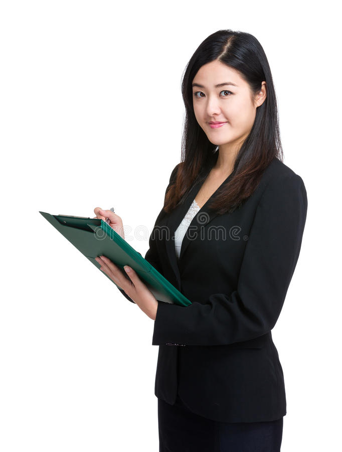 Download Business Woman Write On Clipboard Stock Photo - Image: 42231484