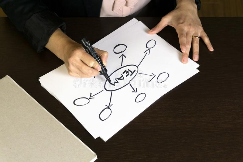 Business Woman Writing Action Plan Diagram Concept for team stock image