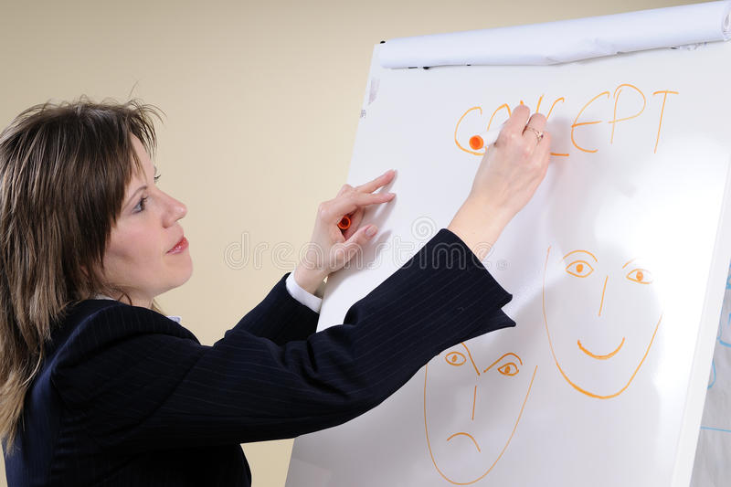 Business woman writing happy sad concepts. Business woman writing and explaining to her colleagues happy sad concepts for negotiation techniques stock photo