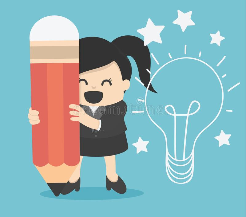 Business woman writing idea and light bulb on wall. Eps royalty free illustration
