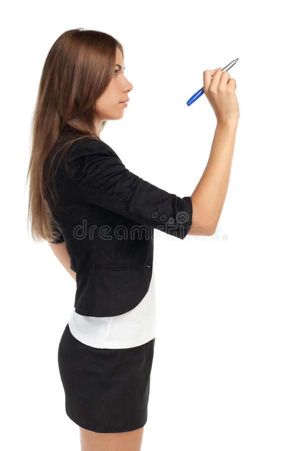 Business woman writing with pen stock photography
