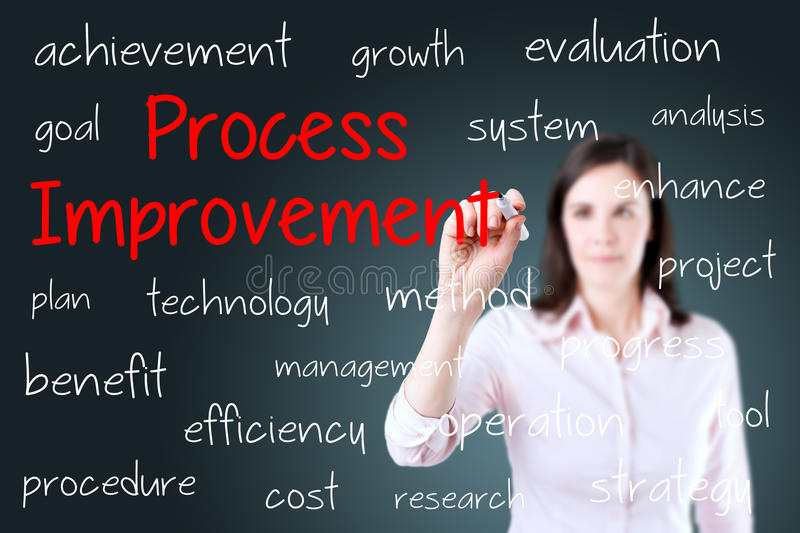 Business woman writing process improvement concept. Blue background. stock photography