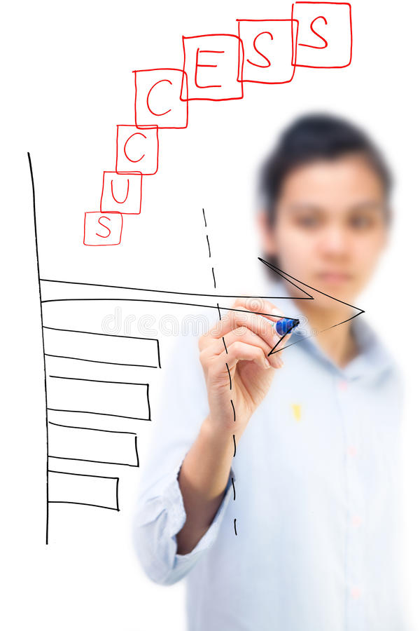 Business woman writing successful graph. Isolate on white background stock photo