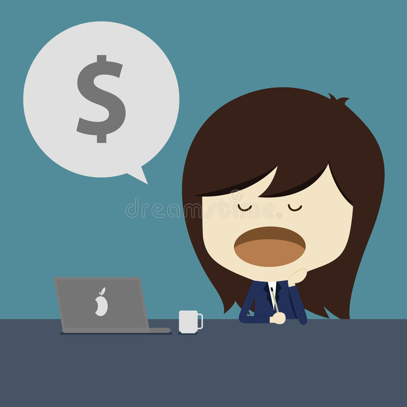 Business woman yawn at work. Lazy business woman yawn at work stock illustration
