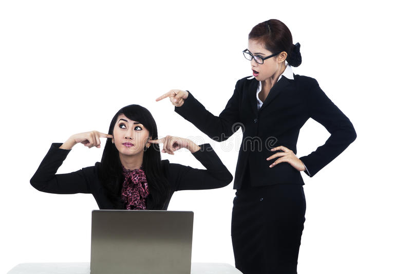 Download Business Woman Yelling At Employee Stock Photo - Image: 27287932