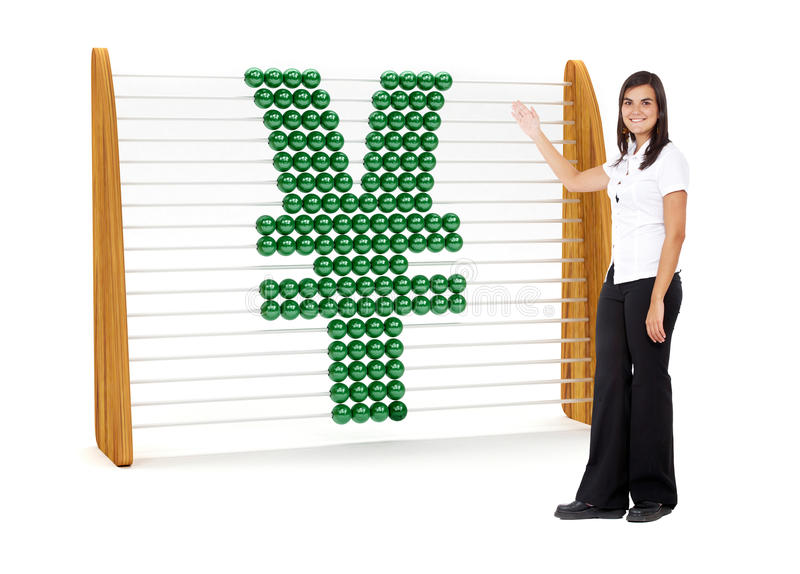 Business woman with a Yen symbol